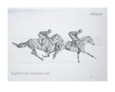 Pencil drawings can make striking and attractive prints, captivating in their simplicity. 'Dawn Raider' portrays two thoroughbreds working on Newmarket Heath and is full of impact.
