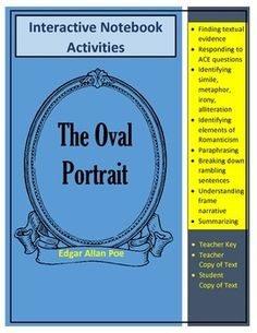"Poe's ""The Oval"" Portrait Text and Interactive Notebook Activities Simile, American Literature, Figurative Language, Interactive Notebooks, Short Stories, Sentences, Students, Activities, Tools"