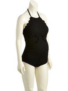 Maternity Scalloped Jacquard Swimsuit