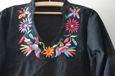 Black Otomi Blouse  Organic Otomi blouse  Hand by OtomiMexico