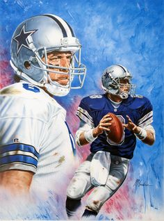 Troy Aikman Legends sports magazine cover artwork by Mike Gardner, 17x23 inches.