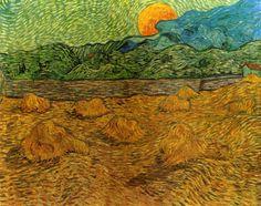 Van Gogh, Vincent - Evening Landscape with Rising Moon - Post Impressionism - Oil on canvas - Landscape - Kröller-Müller Museum - Otterlo, Netherlands Vincent Van Gogh, Van Gogh Art, Art Van, Claude Monet, Georges Seurat, Felix Vallotton, Van Gogh Paintings, Van Gogh Museum, Post Impressionism