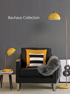 Buy the Village At Home Bauhaus Floor Lamp - Ochre at Robert Dyas online. Free Standard Home Delivery on this product Yellow Floor Lamps, Bauhaus Interior, Scandi Living Room, My Ideal Home, Luxury Lighting, Interior Lighting, Lighting Ideas, Of Wallpaper, Decoration