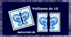 Počítajte do 10 s motýlikovými kartičkami. Pre deti, ktoré sa chcú učiť hrou.