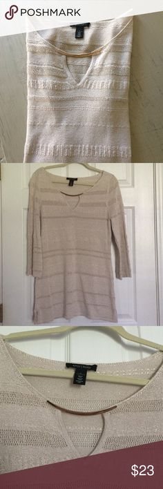 ⚡️SALE⚡️WHBM Gold Tunic A lovely light taupe with golden threads tunic from White House Black Market. I love the gold accent bar on the front of this tunic--no necklace needed!  In great pre-loved condition with no signs of wear. White House Black Market Tops Tunics