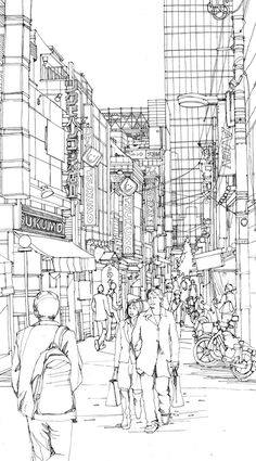 Week 3 - Line Weight; Line drawings for GSL Law and Consulting Offices by Abigail Daker, via Behance Architecture Sketchbook, Art Sketchbook, Perspective Sketch, City Drawing, City Sketch, Observational Drawing, Building Sketch, Building Illustration, Usa Tumblr