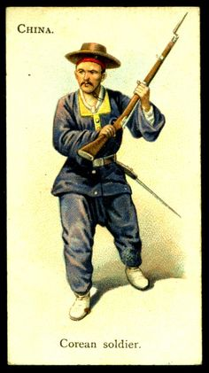 "Korean Soldier (Corean) - Wills's Cigarettes, ""Soldiers of the World"" (series of 100 issued in Army Uniform, Military Uniforms, Army History, Military Cards, Military Costumes, Filipino Culture, Collector Cards, British Soldier, French Army"