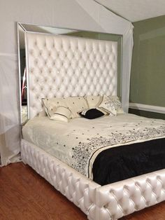 Luxurious King Tufted Bed with Mirrors and Rhinestones Bed with Mirror Tufted Bed Upholstered Bed Bedroom Furniture Custom Bed King Size Bed Simple Bedroom, Luxury Bedding Master Bedroom, Bed Linens Luxury, Custom Bed, Tufted Bed, Luxury Bedding, Home Decor, Luxurious Bedrooms, Simple Bedroom Design