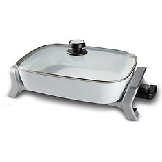 Make cooking fun and easy with the Oster 16 x 12 Electric Skillet. Cooks food up to 20% faster to save time and energy, and features a removable, adjustable temperature control plus DuraCeramic nonstick interior coating for effortless food release.
