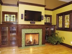 Like The Bookshelves And Windows, Still Want A Stone Fireplace. Arts U0026  Crafts Tile Fireplace Showcase   Traditional   Living Room   Minneapolis    Clay ...