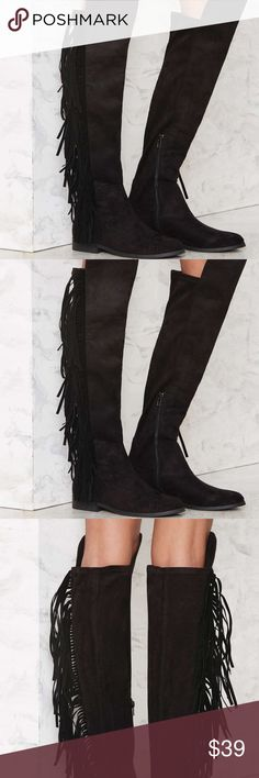 """Lust for Life Ryder fringe boots nasty gal Lust for Life Ryder Fringe Boot  We've got your next ryde or die. The Ryder Boot comes in black vegan microsuede and features an OTK boot silhouette, almond toe, side fringe detailing, and inner side zip closure. By LFL by Lust for Life.  *Synthetic Materials  *Runs true to size  *24""""/61cm shoe height lust for life Shoes Over the Knee Boots"""