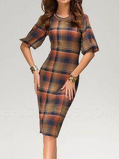 Ericdress Plaid Half Sleeve Sheath Dress Sheath Dresses