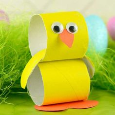Paper Roll Chick - Easter Crafts for Kids - Growing a Jeweled Rose (play recipes, kids crafts, science, slime, & more) - Winter Fashion Bunny Crafts, Easter Crafts For Kids, Toddler Crafts, Preschool Crafts, Paper Easter Crafts, Simple Paper Crafts, Arts And Crafts For Kids Easy, Kids Diy, Easter Activities