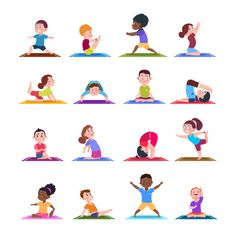 Illustration about Children in yoga poses. Cartoon fitness kids in yoga asana. Illustration of fitness sport yoga pose for child. Illustration of health, character, people - 128229900 Kids Yoga Poses, Yoga For Kids, Cartoon Kids, Girl Cartoon, Yoga Inspiration, Yoga Vector, Sport Body, Yoga Sequences, Living At Home