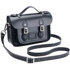 Pre-owned The Cambridge Satchel Company Mini Black Satchel ($135) ❤ liked on Polyvore featuring bags, handbags, black, satchel handbags, mini satchel purse, top handle satchel, black satchel and black purse