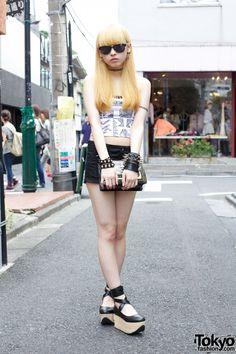 Aoi in Harajuku w/ Spike Earrings, Studded Bracelets & Platforms