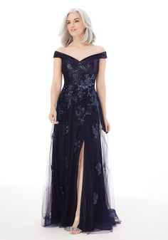 Shop Morilee's A-Line Evening Gown with Beading and Appliqués on Net. An elegant formal dress, evening gown or mother of the bride dress. Evening Gowns With Sleeves, A Line Evening Dress, A Line Gown, Evening Dresses, Bride Groom Dress, Bride Gowns, Mother Of The Bride Gown, Mori Lee, Mothers Dresses