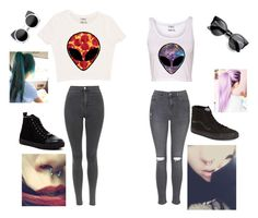 """""""Alien twins"""" by lame-spacemilk ❤ liked on Polyvore featuring Topshop, Wanted, Vans, women's clothing, women's fashion, women, female, woman, misses and juniors"""
