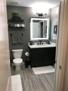 Unique gray and brown bathroom color ideas bathroomremodel gray bathroompaint painting bathroomdesign grayBathroom 619385754987864733 Grey Bathrooms Designs, Modern Bathroom Design, Bathroom Interior Design, Bath Design, Modern Bathrooms, Tile Design, Farmhouse Bathrooms, Modern Design, Primitive Bathrooms