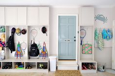 I like the idea of a swimsuit drying area and individual cubbies/bench. IHeart Organizing: Reader Space: Glorious Garage Organization