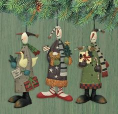 12 Days of Christmas Snowman Ornaments Set of Three : The Official Williraye Studio Store, Folk Art Collectibles and Figurines $37.50