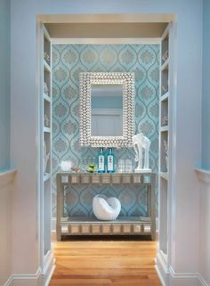 Stunning duck egg blue & silver entry