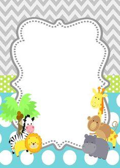 Jungle Animals Baby Cards Shower Invitations Safari Boy