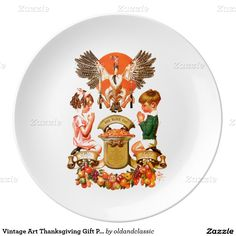 Thanksgiving Gift Decorative Porcelain Plates with a vintage magazine illustration by Joseph Christian Leyendecker, circa 1932. Matching cards, postage stamps and other products available in the oldandclassic store at zazzle.com