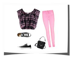 """""""Rebel in pink"""" by lolabelle1963 ❤ liked on Polyvore featuring Miu Miu and Converse"""