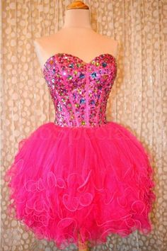 Ball Gown Sweetheart Beaded Tulle Hot Pink Short Prom Dress