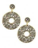 14K Yellow Gold Gallery and Oxidized Silver Bezel Set Diamond and Sapphire Open Circle Drop Earrings