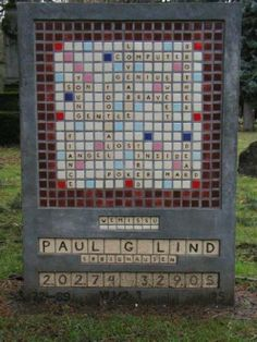 this is the most fantastic headstone to date - scrabble tells it all. What a great family to represent their loved one in such a personal tribute -