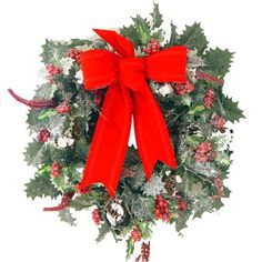 """Christmas Holly berrie wreath covered in show with red bow Size: 16""""W"""
