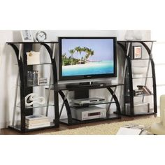 Amazon.com: 3pc Entertainment Centre with Media Tower in Black Finish: Home & Kitchen