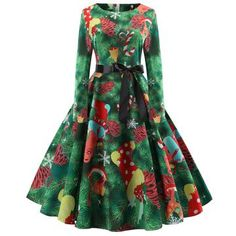aa1fe163f6d9 Hepburn Vintage Series Women Dress Spring And Winter Round Neck Christmas  Printing Stitching Design Long Sleeve Belt Corset Retro Dress - GREEN