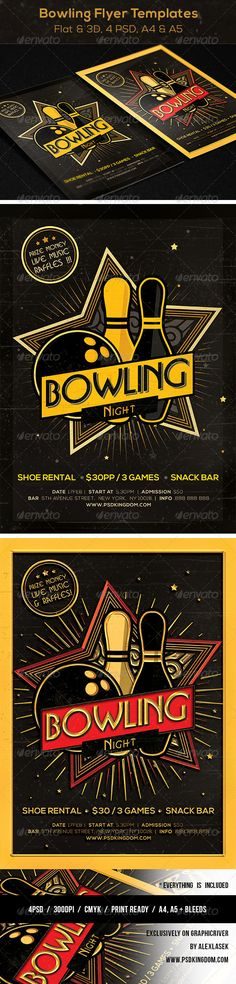 Bowling Tournament Flyer | Psd Templates, Flyer Template And Event