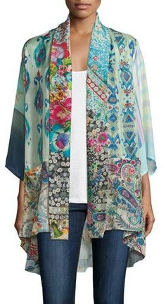 Johnny Was Collection Mixed-Print Tie-Front Silk Kimono