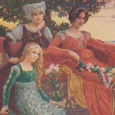 Art Nouveau French Artist Medieval 'Evening' Postcard.