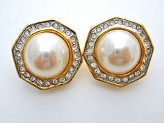 Pearl Rhinestone Earrings Vintage Clip Clear Prom Wedding Jewelry Gold Large  #Unbranded #WeddingProm