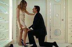"""""""This is why there is a ring, you need something to seal the deal."""" The 11 most iconic shoe moments in film history: Big's Manolo Blahnik marriage proposal to Carrie Bradshaw. Sarah Jessica Parker, Marie Claire, Estilo Carrie Bradshaw, Carrie Bradshaw Shoes, Carrie And Mr Big, Manolo Blahnik Shoes, Chris Noth, Look Star, Couple Photography"""