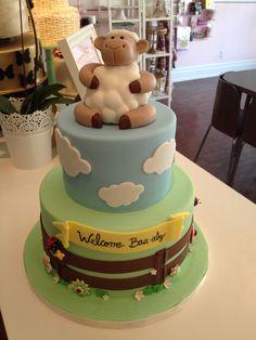 Baby Shower Cake Sheep theme   www.theweddingcakeshoppe.com Baby Shower Cakes, Baby Shower Themes, Baby Shower Gifts, Baby Gifts, Baby Showe Ideas, Baby Ideas, Shower Ideas, Sheep Cake, Storybook Baby Shower