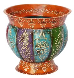 "Bulk Wholesale Hand-Painted Pumpkin Shaped 7.4"" Flower Vase / Planter in Iron with Ribbed Pattern & Cone-Painting Art - Antique-Look Home Décor"
