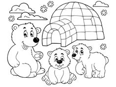 Coloring book with polar theme 1 - picture illustration. Polar Bear Coloring Page, Bear Coloring Pages, Adult Coloring, Coloring Books, Art For Kids, Crafts For Kids, Artic Animals, Penguin Art, Background Powerpoint