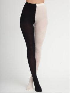 two - tone opaque tights