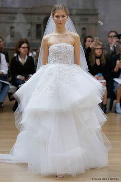 strapless straight across neckline heavily embellished bodice layered skirt ball gown wedding dress chapel train -- Oscar de la Renta Spring 2018 Wedding Dresses