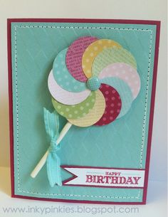 Lollipop Card using circle punches and a brad.  Simple and quick.  via InkyPinkies: Sweet Sunday - Lollipop Cards