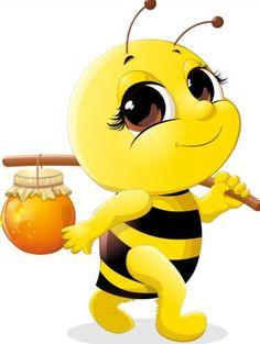 Cute bee with honey Jar vector 02 Cartoon Bee, Cartoon Pics, Cute Cartoon, Honey Bee Cartoon, Happy Cartoon, Bee Pictures, Cute Bee, Bee Art, Clip Art
