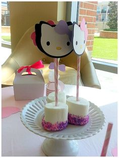 Chocolate Covered Marshmallow with Pink and Purple Sprinkles & Hello Kitty Cutout