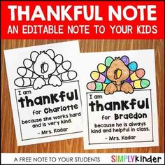 Free Thankful Note for Your Students (Editable)Check out these THANKSGIVING resources from Simply Kinder: Thanksgiving Kindergarten Printables for Literacy (thanksgiving gifts for students) Thanksgiving Activities For Kindergarten, Holiday Activities, Preschool Activities, Teacher Wish List, Toddler Teacher, Student Gifts, School Holidays, Teacher Notes