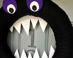 Yarn Wreath Felt Holiday Door Decoration - Halloween Monster 14in